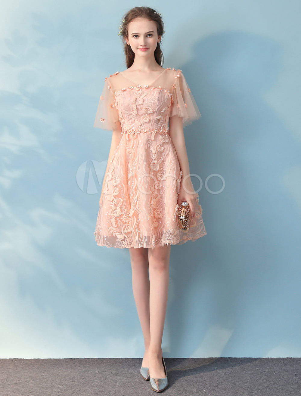 Buy Peach Homecoming Dress Lace Short Prom Dresses V Neck Butterfly Sleeve Backless Flower Deco A Line Knee Length Cocktail Dress for $114.39 in Milanoo store