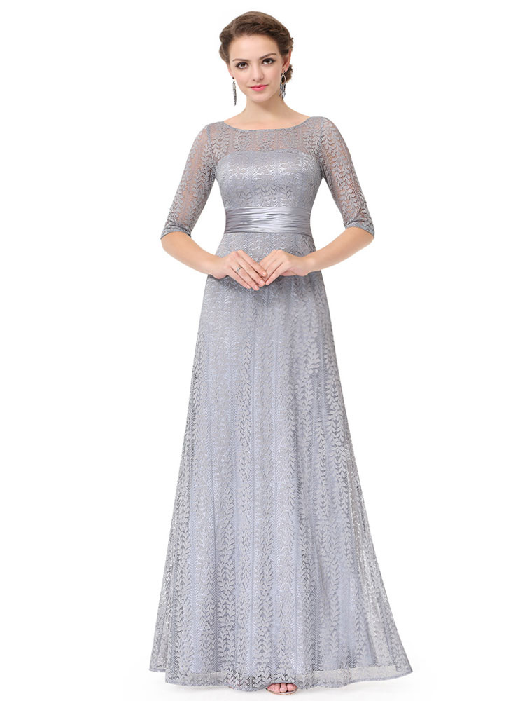 Buy Lace Mother Dress Light Grey Formal Evening Dress Half Sleeve Illusion Neckline A Line Floor Length Wedding Guest Dresses for $114.39 in Milanoo store