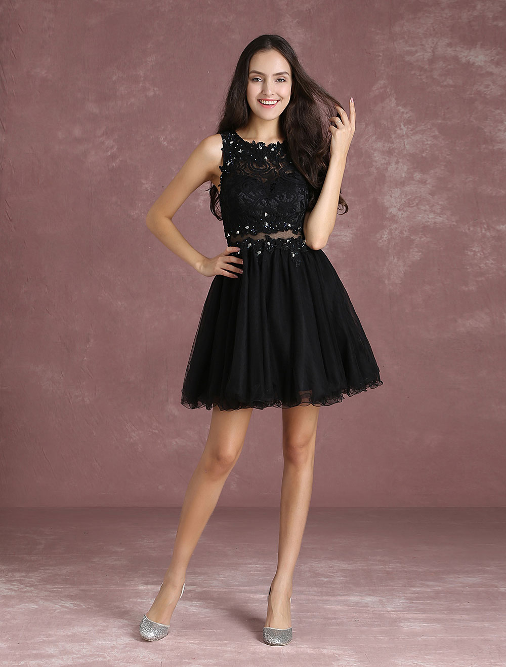 Lace Homecoming Dress Little Black Dress Beading Hollow Out Waist A Line Mini Cocktail Dress