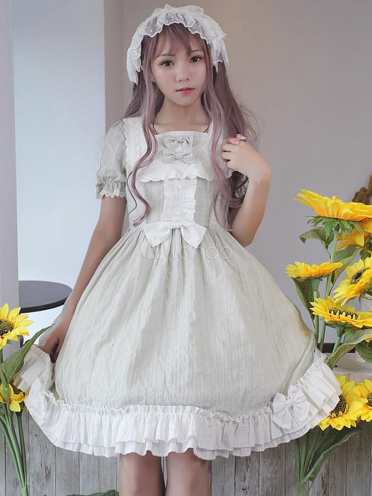 Buy Classic Lolita OP One Piece Dress Neverland Square Neck Lace Trim Ruffles Two Tone Sage Green Lolita Dress for $149.39 in Milanoo store