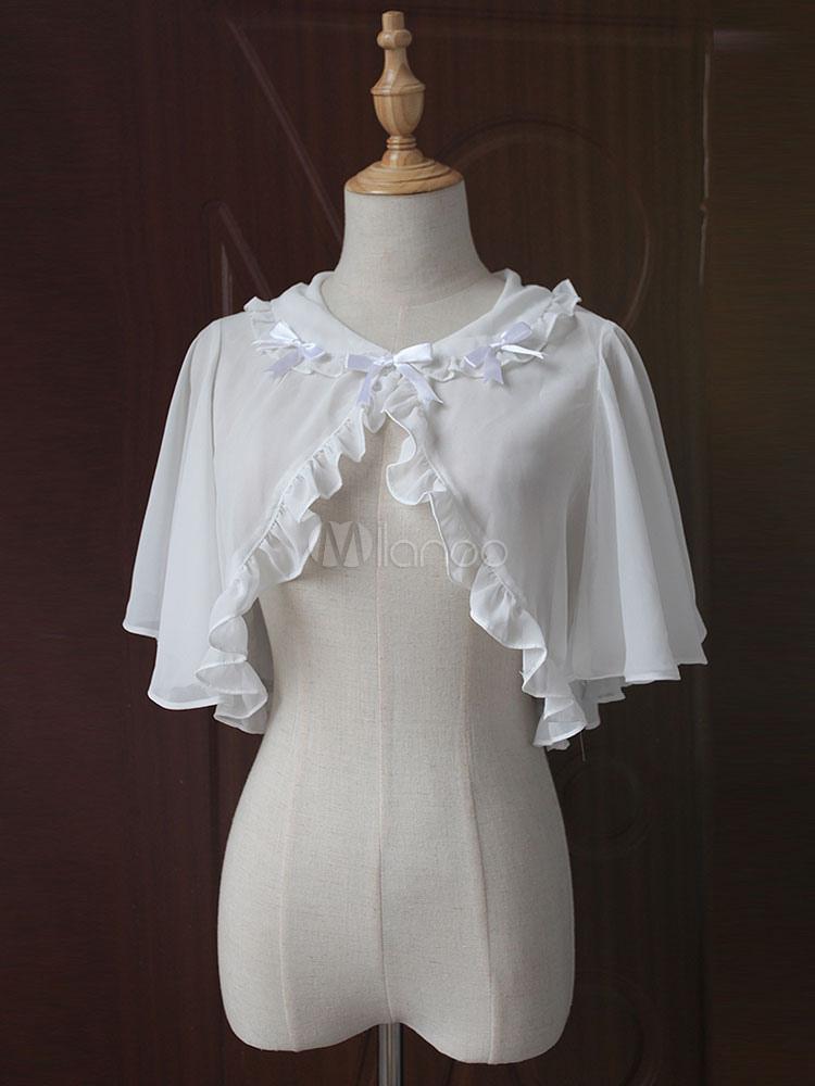 Buy Classic Lolita Cape Coat Neverland Round Neck Ruffles Bows White Lolita Top for $24.83 in Milanoo store