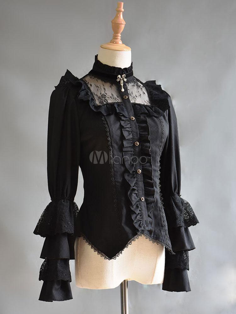 Gothic Lolita Blouse Neverland Cotton Lace Trim Ruffles Black Lolita Top