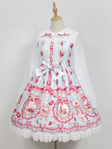 Buy Sweet Lolita OP One Piece Dress Neverland Turndown Collar Long Sleeve Bunny White Lolita Dress for $183.07 in Milanoo store