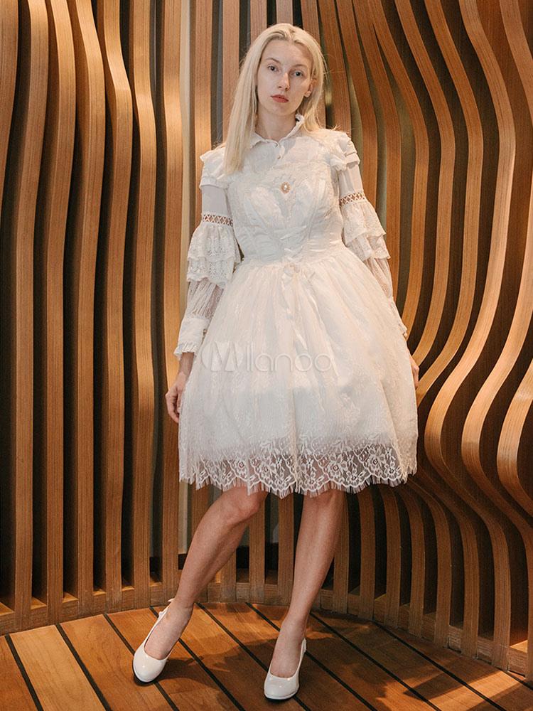 Buy Classic Lolita Dress JSK Neverland Lace Ribbons Ruffles White Lolita Jumper Skirt for $203.39 in Milanoo store