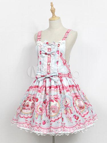 Buy Sweet Lolita JSK Jumer Skirt Neverland Square Neck Ruffles Bunny White Lolita Dress for $154.79 in Milanoo store