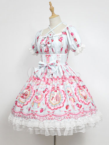 Buy Sweet Lolita OP One Piece Dress Neverland Square Neck Puff Sleeve Bunny White Lolita Dress for $175.49 in Milanoo store
