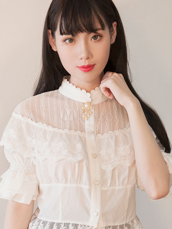 Buy Classic Lolita Blouses Neverland Stand Collar Puff Sleeve Frills White Lolita Top for $54.27 in Milanoo store