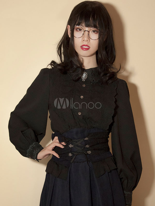 Buy Gothic Lolita Blouse Neverland Cotton Puff Sleeve Retro Buttons Black Lolita Top for $114.99 in Milanoo store