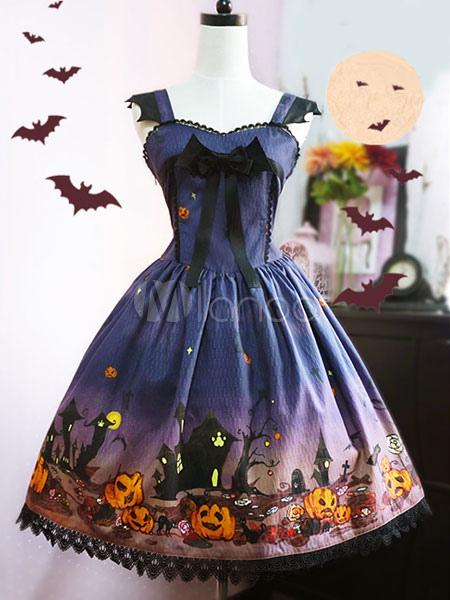 Buy Gothic Lolita JSK Jumper Skirt Pumpkin Print Ruffles Ribbons Purple Lolita Dress for $173.69 in Milanoo store