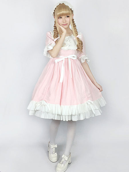 Buy Rococo Lolita OP One Piece Dress Round Neck Lace Trim Two Tone Ruffles Pink Lolita Dress for $118.39 in Milanoo store