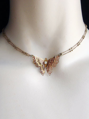 Buy Classic Lolita Necklace Butterfly Bows Beaded Gold Lolita Necklace for $20.99 in Milanoo store
