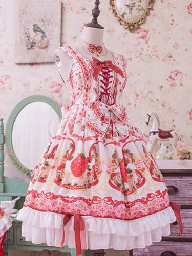 Buy Sweet Lolita JSK Jumper Skirt Strawberry Print Lace Trim Frills Red Lolita Dress for $196.99 in Milanoo store