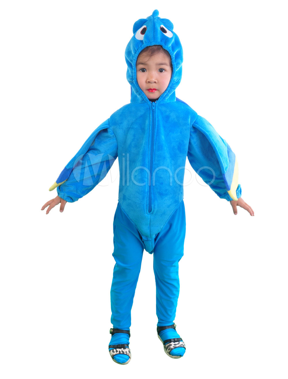 Buy Halloween Costume Kid's Royal Blue Fish Funny Velour Long Sleeve Jumpsuit Cosplay Costume With Hat Halloween for $32.19 in Milanoo store