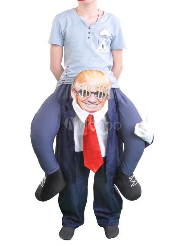 Buy Carry Me Ride On Costume Halloween Unisex Dark Navy Funny Plain Woolen Inflatable Suit With Tie Halloween for $48.59 in Milanoo store