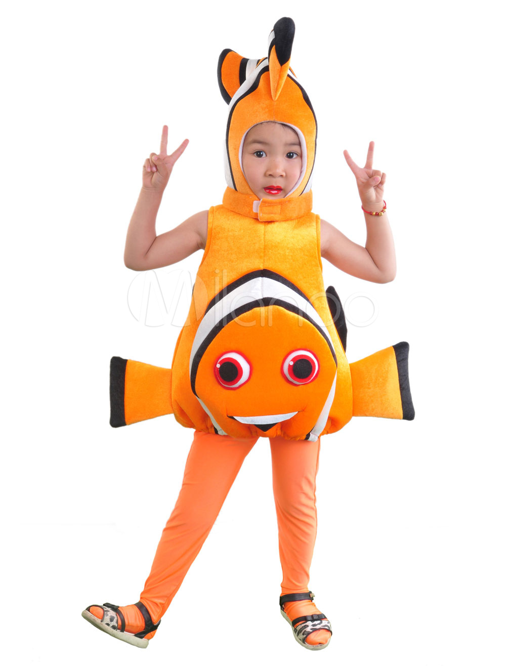 Buy Hallowee Costume N Kid's Orange Clownfish Funny Velour Sleeveless Jumpsuit Cosplay Costume With Hat Halloween for $34.99 in Milanoo store