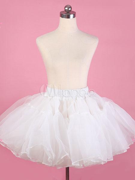 White Lolita Petticoat Tulle Crinoline Ruffles Pleated Lolita Tu Tu Skirt