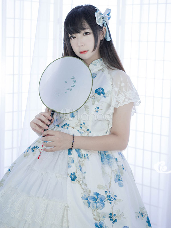 Qi Lolita Outfit Stand Collar Lace Up Short Sleeve Floral Print Ruffles Frills White Lolita Shirt And Skirt Set