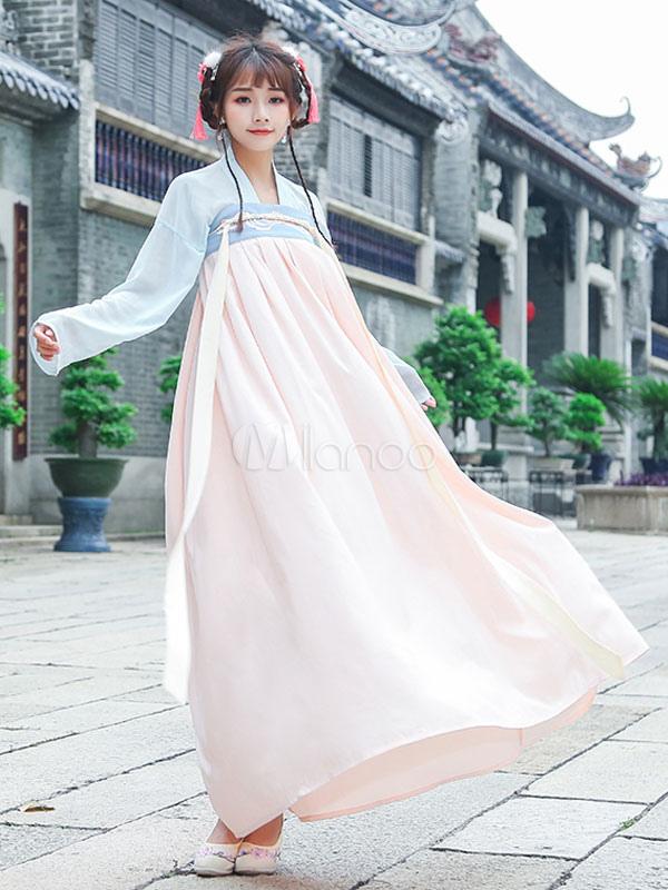 b001769fb Hanfu Lolita Outfit Square Neck Long Sleeve Chiffon Jacquard Ribbons  Pleated Apricot Lolita Shirt And Skirt ...