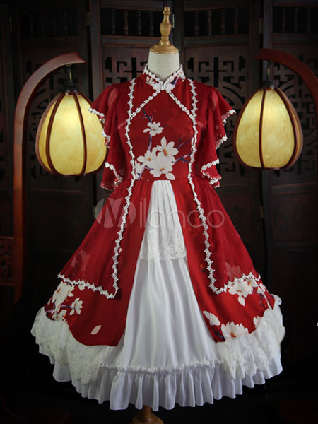 Qi Lolita Outfit Stand Collar Lace Trim Butterfly Sleeve Lace Up Floral Print Ruffles Frills Red Lolita Shirt And Skirt Set