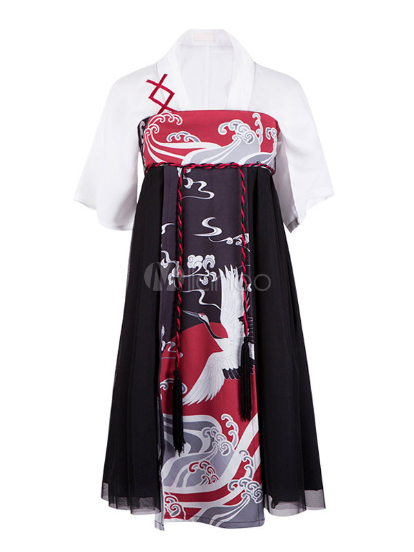 Buy Hanfu Lolita Outfit V Neck Half Sleeve Color Block Net Grus Japonensis Print Pleated Black Lolita Shirt And Skirt Set for $109.99 in Milanoo store