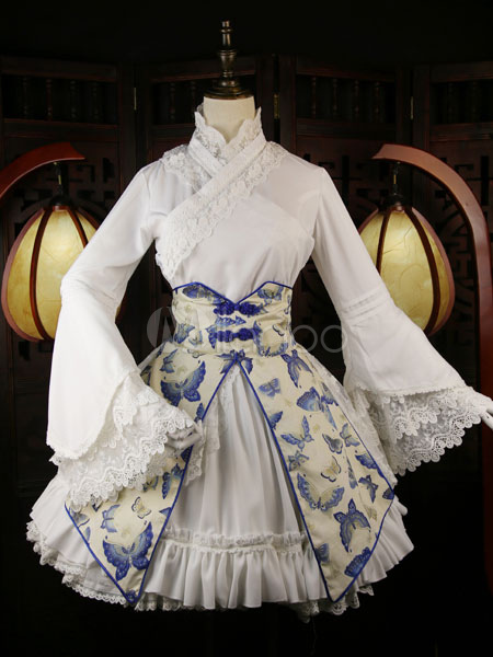 Hanfu Lolita Outfit Lace Trim Slant Opening Bell Sleeve Butterfly Print Ruffles Frills Blue Lolita Shirt