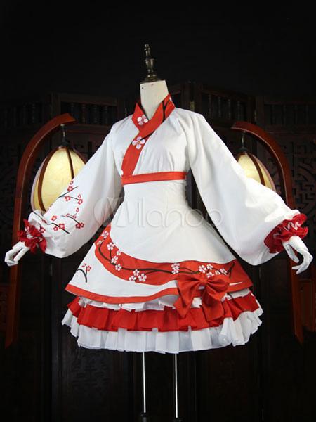 Hanfu Lolita Outfit Lace Up Slant Opening Puff Sleeve Plum Blossom Print Frills Asymmetrical White Lolita Shirt And Skirt Set