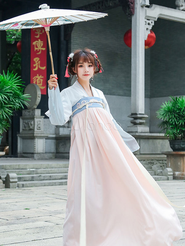 c8f76b9ef ... Hanfu Lolita Outfit Square Neck Long Sleeve Chiffon Jacquard Ribbons  Pleated Apricot Lolita Shirt And Skirt
