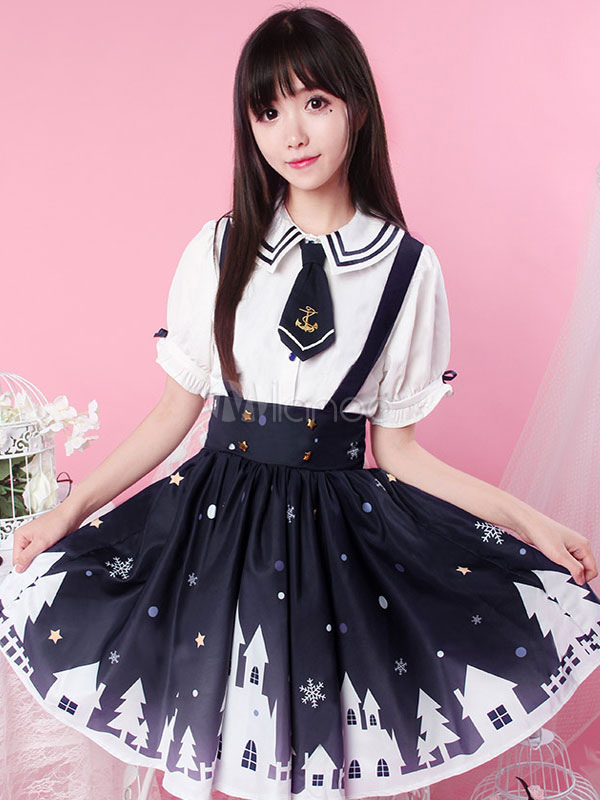 Buy Sweet Lolita SK Skirt Dark Navy Castle Print Pleated Lolita Bottom for $55.79 in Milanoo store