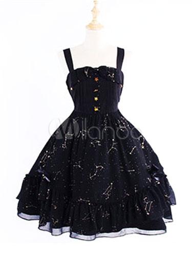 Buy Sweet Lolita JSK Jumper Skirt Chiffon Color Block Frillsblack Lolita Dresses for $77.99 in Milanoo store