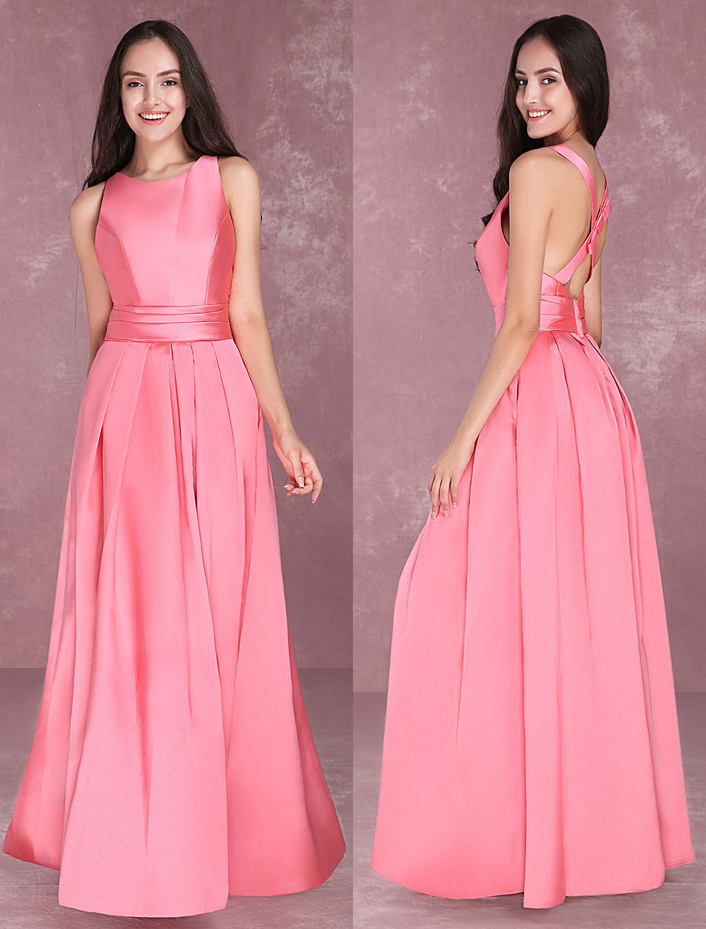 Buy Long Prom Dresses Satin Pleated Cross Back Cutoff Sleeveless Ruched Waist Floor Length Formal Evening Dress for $100.79 in Milanoo store