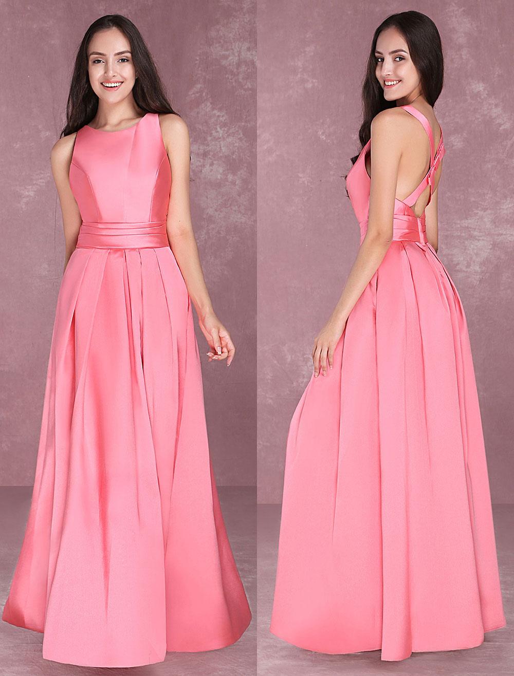 Vestido de Baile Tela Satén Rosado naranja con escote redondo Sin ...