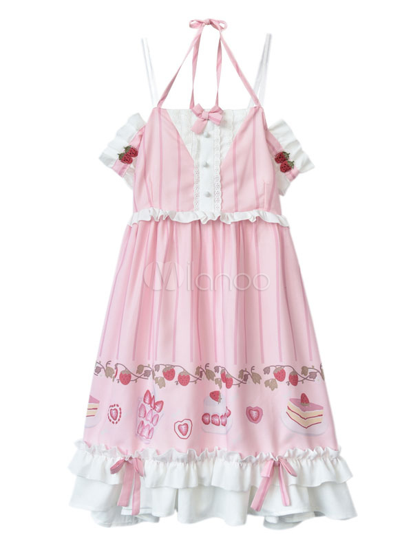 Vestido de Lolita de chifón estilo dulce sin mangas Fiesta del té ...