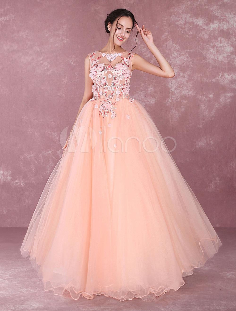 Vestido para quinceañeras naranja con escote redondo sin mangas con ...