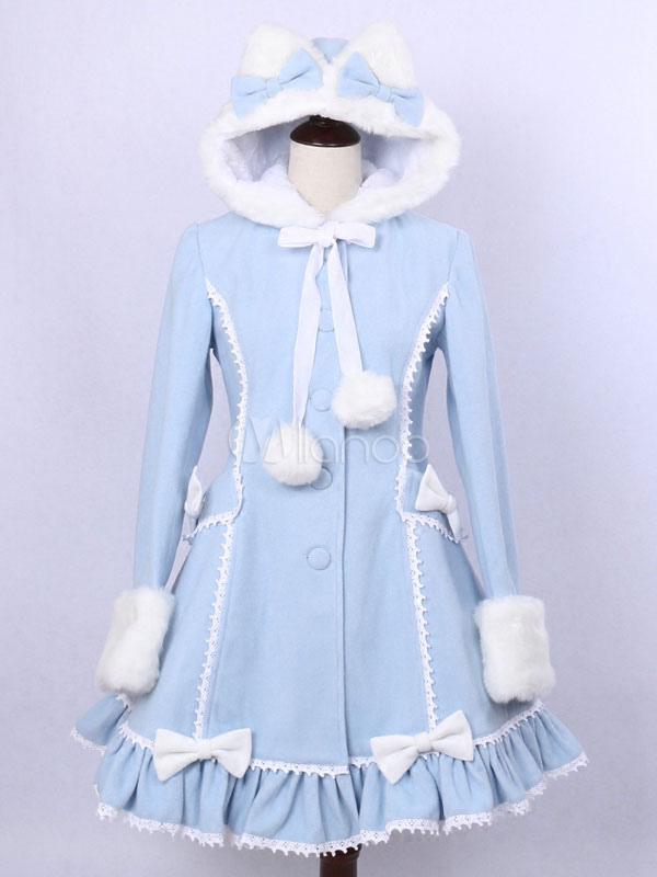 Buy Sweet Lolita Overcoat Hooded Long Sleeve Two Tone Blue Lolita Coat for $161.99 in Milanoo store