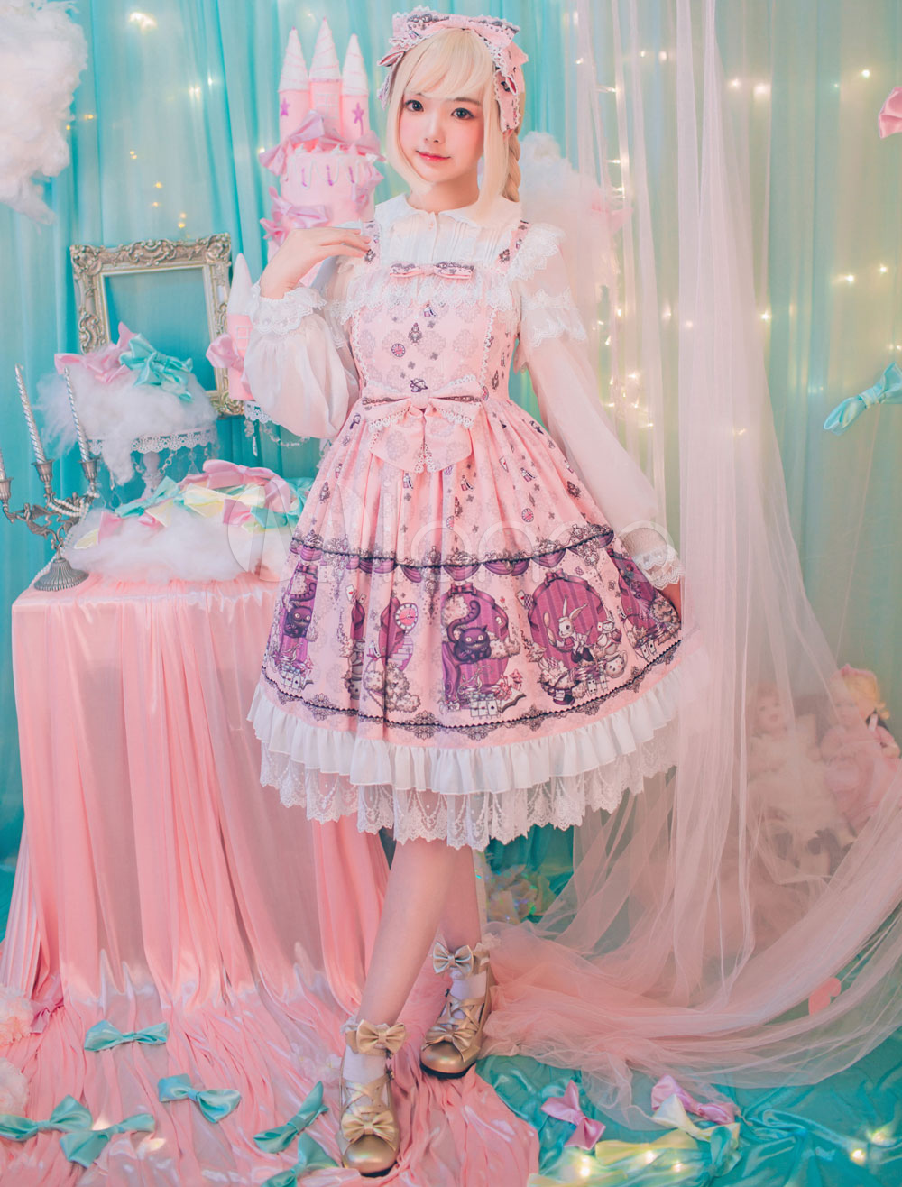 Buy Sweet Lolita JSK Jumper Skirt Fairytale Print Chiffon Frills Pink Lolita Dresses With Bows for $163.99 in Milanoo store