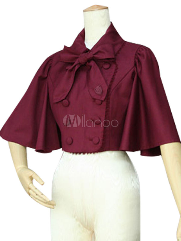 Buy Classic Lolita Overcoat Turndown Collar Half Sleeve Double Breasted Burgundy Lolita Cape Coat With Bows for $66.59 in Milanoo store