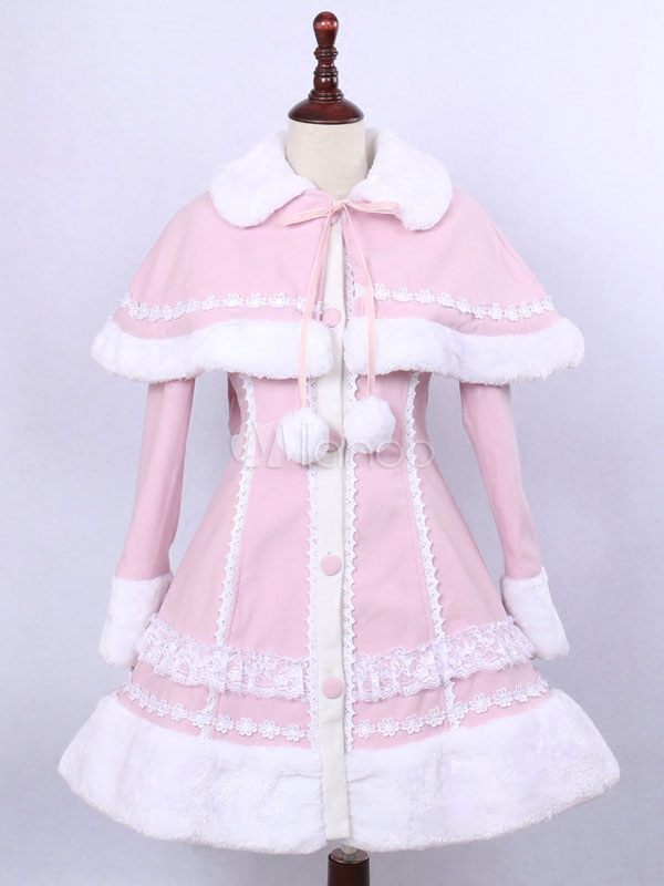 Buy Sweet Lolita Overcoat Stand Collar Long Sleeve Frills Pink Lolita Cape Coat With Pom Poms for $151.19 in Milanoo store