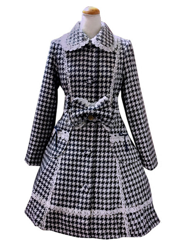 Buy Classic Lolita Overcoat Turndown Collar Long Sleeve Lace Trim Plaid Black Lolita Coat With Bows for $167.99 in Milanoo store