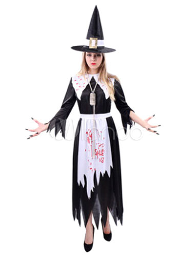 Scary Halloween Costume Black Witch Womens Long Dress With Hat And