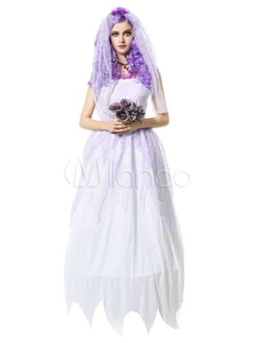Scary Halloween Costume White Corpse Bride Women's Long Dress With Veil
