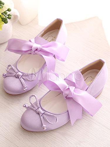 Zapatos de lolita de satén de puntera redonda con lazo Fiesta del té h52iB6hW