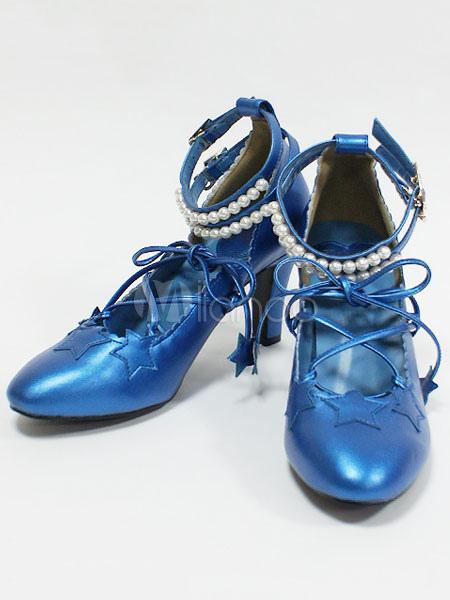 1e9507348db Sweet Lolita Shoes Pointed Toe Kitten Heel Stars Lace Up PU Pink Lolita  Pumps