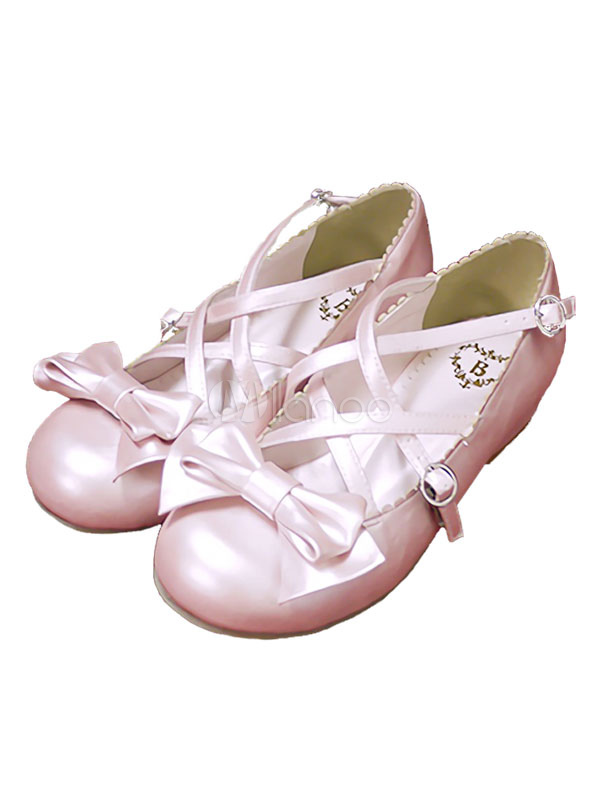Rococo Lolita Shoes Lace Up Bows Chunky Heel Round Toe Pink Lolita Ballet Boots
