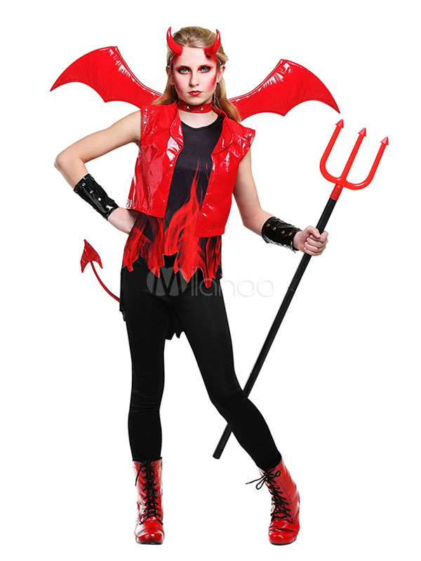 Buy Kids' Halloween Costume Unisex Red Devil Color Block Scary Costume Set In 6 Pieces Halloween for $73.59 in Milanoo store