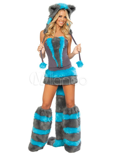 sexy racoon costume halloween womens ocean blue faux fur jumper with shoes and hat halloween