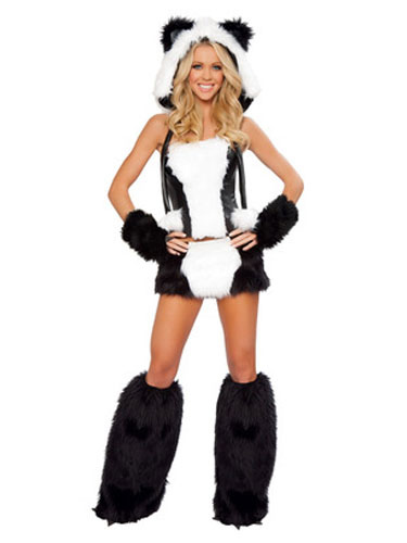 Disfraz sexy de animal para Halloween de oso panda de piel sintética estilo femenino blanco Halloween  sc 1 st  Milanoo.com & Disfraz sexy de animal para Halloween de oso panda de piel sintética ...