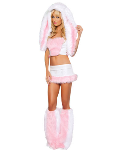 Buy Sexy Bunny Costume Halloween Women's Soft Pink Faux Fur Costume Set In 4 Pieces Halloween for $47.99 in Milanoo store