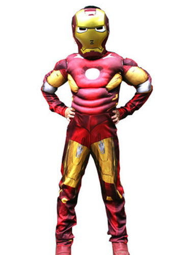 acquista per sito web professionale donna Kids's Halloween Costume Red Iron Man Cosplay Color Block Roman Knit  Jumpsuit With Mask For Boys Halloween