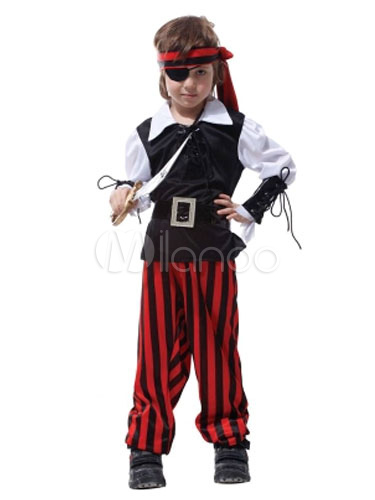 Kids' Halloween Costume Boys Black Pirate Striped Costume Set In 6 Pieces Halloween