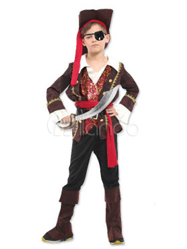 Buy Kids' Halloween Costume Black Pirate Long Sleeve Costume Set In 6 Pieces For Boys Halloween for $37.79 in Milanoo store